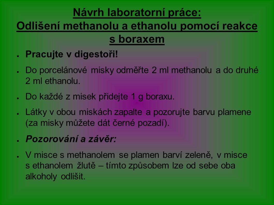 Návrh laboratorní práce: Odlišení methanolu a ethanolu pomocí reakce s boraxem ● Pracujte v digestoři.