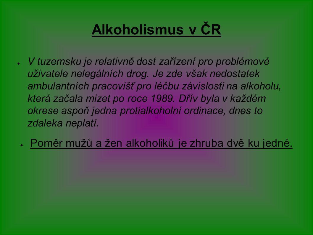 Alkoholismus v ČR ● V tuzemsku je relativně dost zařízení pro problémové uživatele nelegálních drog.