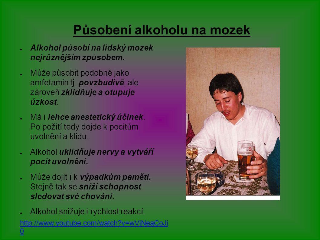 Působení alkoholu na mozek ● Alkohol působí na lidský mozek nejrůznějším způsobem.