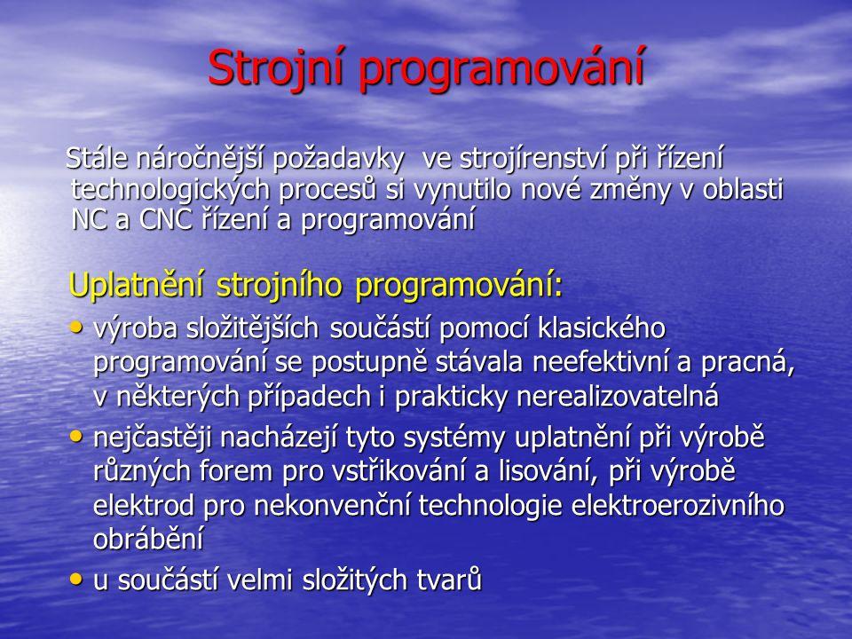 Strojní programování Podstata a princip CAD/CAM systémů spočívá: v propojení práce konstruktéra a technologa.