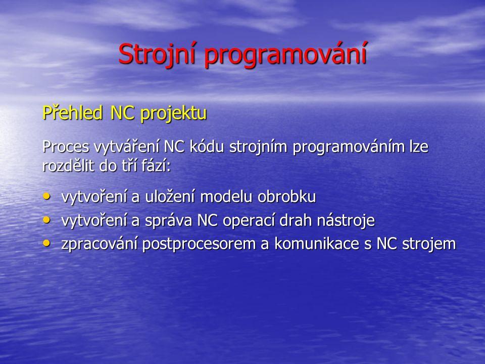 Strojní programování Přehled NC projektu Proces vytváření NC kódu strojním programováním lze rozdělit do tří fází: vytvoření a uložení modelu obrobku vytvoření a uložení modelu obrobku vytvoření a správa NC operací drah nástroje vytvoření a správa NC operací drah nástroje zpracování postprocesorem a komunikace s NC strojem zpracování postprocesorem a komunikace s NC strojem