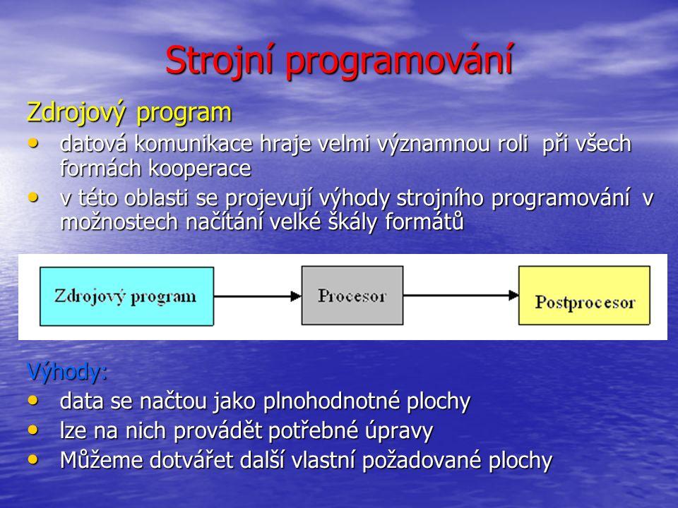 Strojní programování Procesor zpracovává veškeré informace, které jsou nezávislé na konkrétním stroji a ŘS.