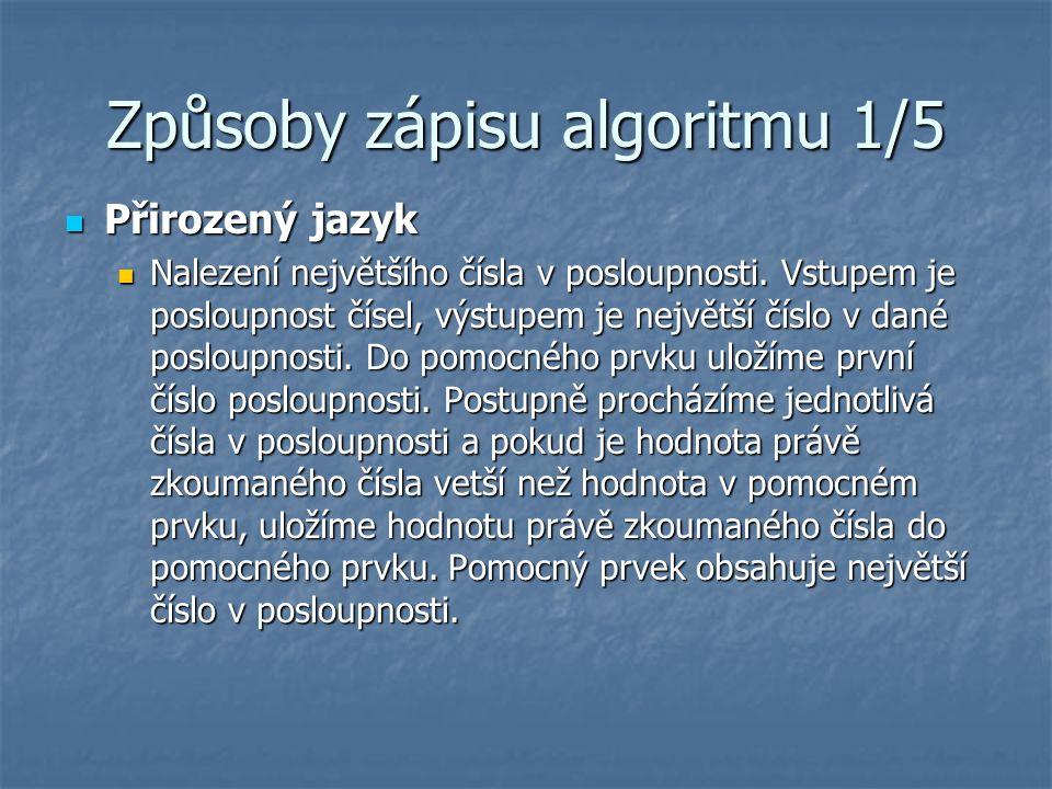 Způsoby zápisu algoritmu 1/5 Přirozený jazyk Přirozený jazyk Nalezení největšího čísla v posloupnosti.