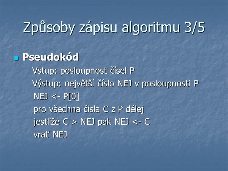 Způsoby zápisu algoritmu 3/5 Pseudokód Pseudokód Vstup: posloupnost čísel P Výstup: největší číslo NEJ v posloupnosti P NEJ <- P[0] NEJ <- P[0] pro všechna čísla C z P dělej pro všechna čísla C z P dělej jestliže C > NEJ pak NEJ NEJ pak NEJ <- C vrať NEJ vrať NEJ