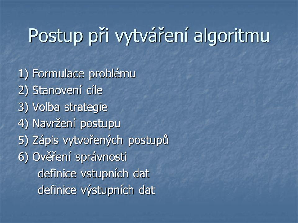 Postup při vytváření algoritmu 1) Formulace problému 2) Stanovení cíle 3) Volba strategie 4) Navržení postupu 5) Zápis vytvořených postupů 6) Ověření správnosti definice vstupních dat definice výstupních dat