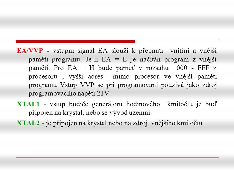 EA/VVP - vstupní signál EA slouží k přepnutí vnitřní a vnější paměti programu.