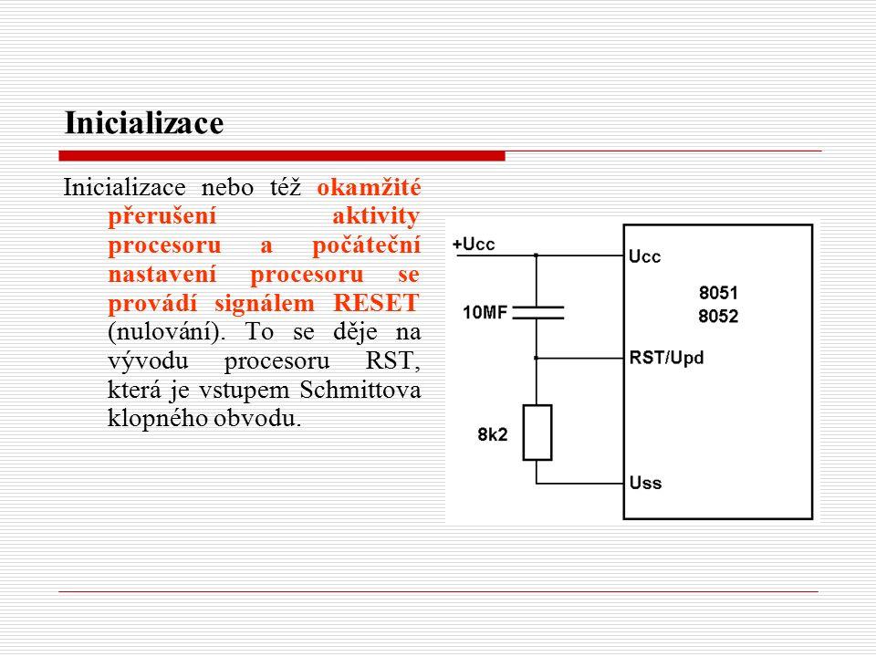 Inicializace Inicializace nebo též okamžité přerušení aktivity procesoru a počáteční nastavení procesoru se provádí signálem RESET (nulování).