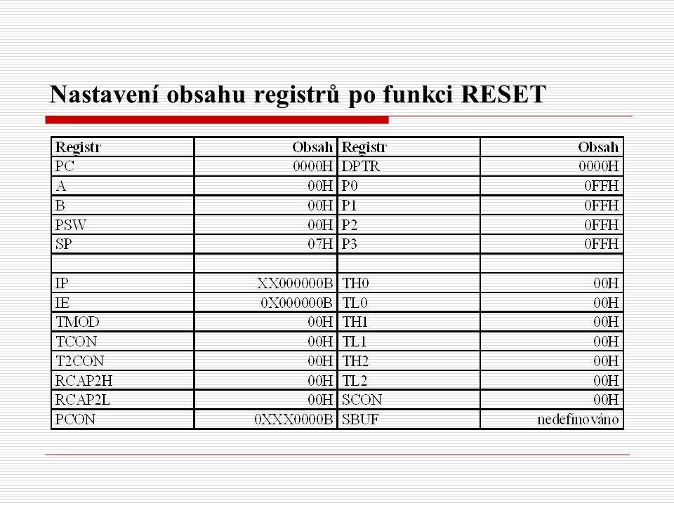 Nastavení obsahu registrů po funkci RESET