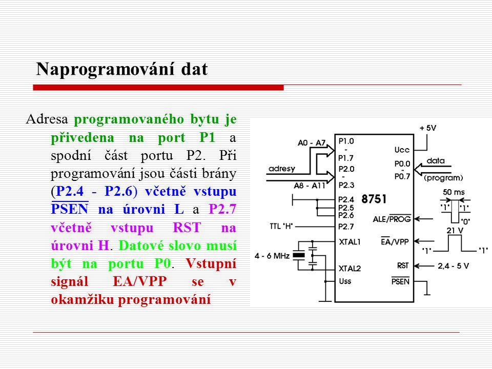 Naprogramování dat Adresa programovaného bytu je přivedena na port P1 a spodní část portu P2.