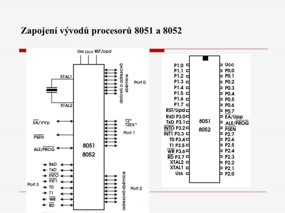 Zapojení vývodů procesorů 8051 a 8052