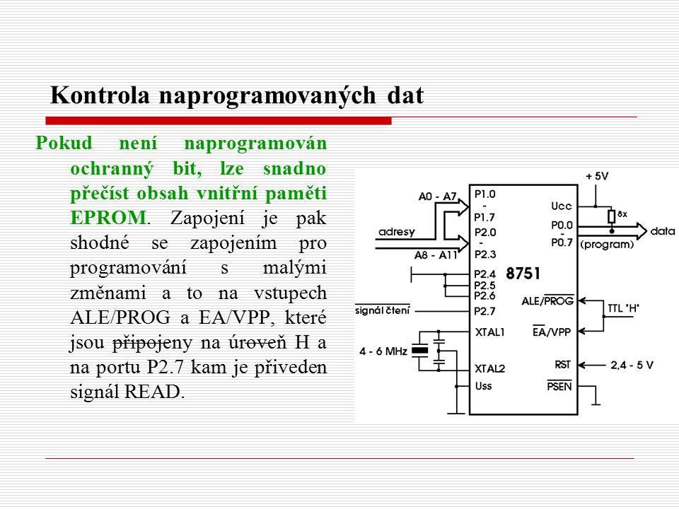 Kontrola naprogramovaných dat Pokud není naprogramován ochranný bit, lze snadno přečíst obsah vnitřní paměti EPROM.