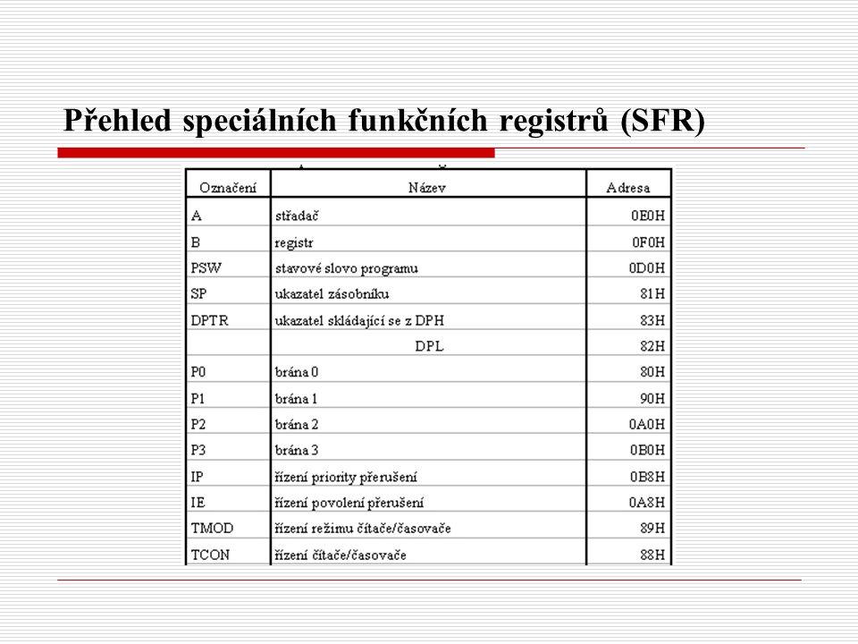Přehled speciálních funkčních registrů (SFR)