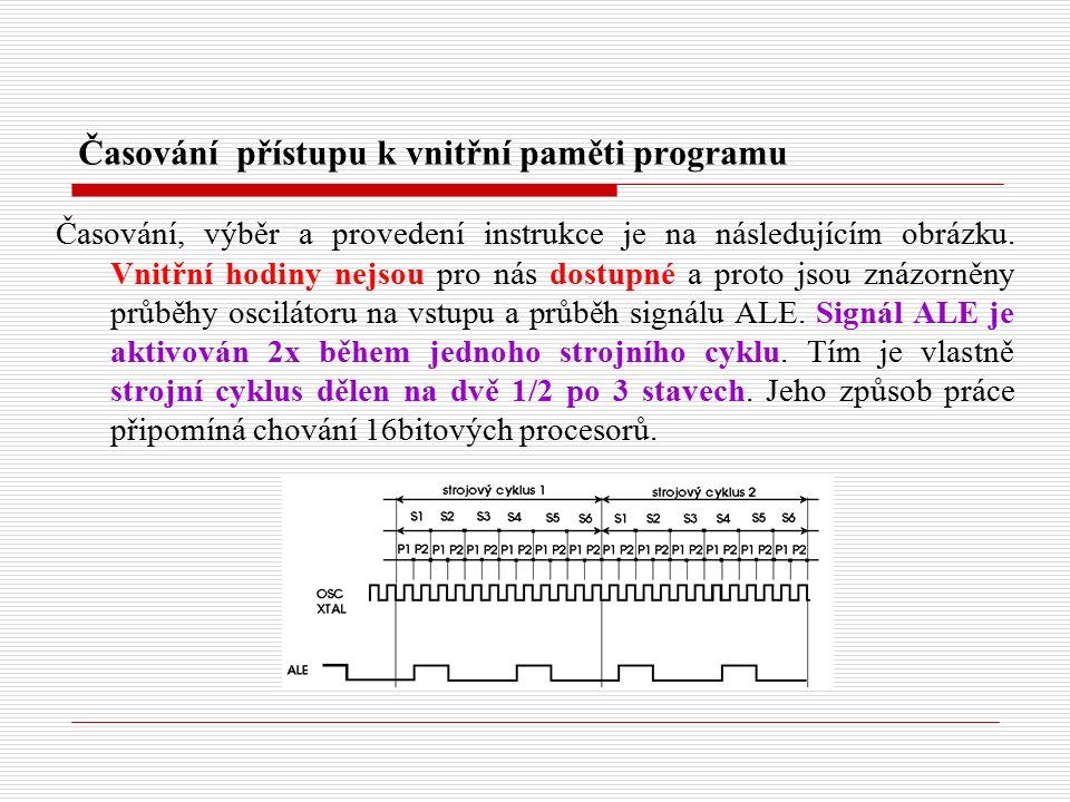 Časování přístupu k vnitřní paměti programu Časování, výběr a provedení instrukce je na následujícím obrázku.
