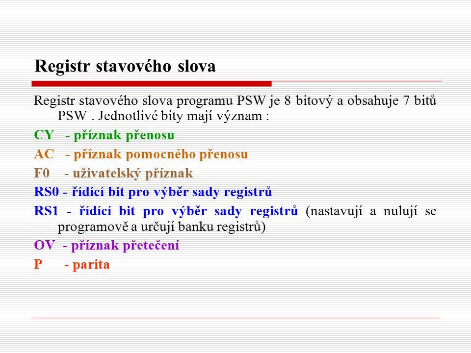 Registr stavového slova Registr stavového slova programu PSW je 8 bitový a obsahuje 7 bitů PSW.