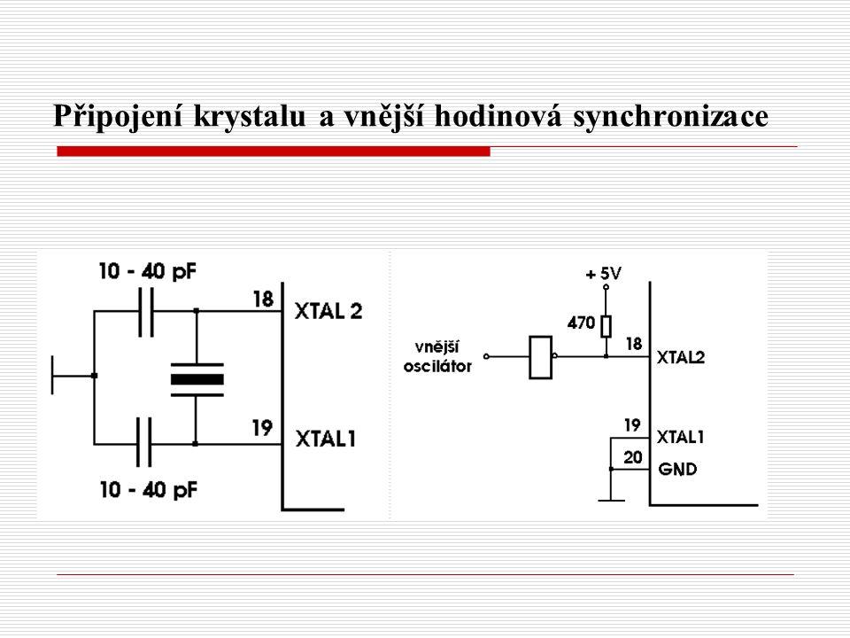 Připojení krystalu a vnější hodinová synchronizace