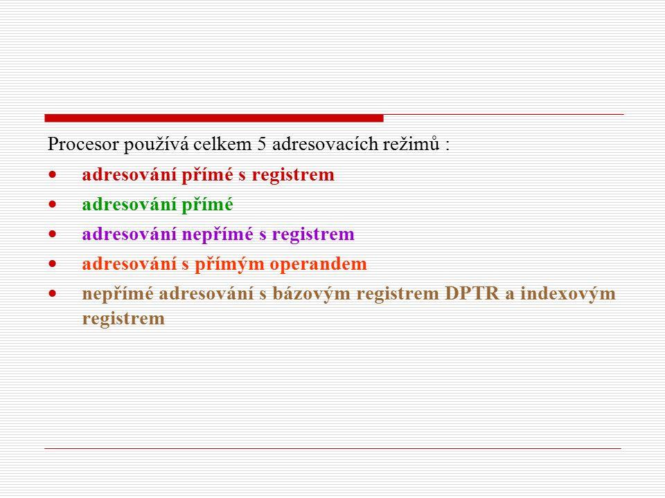 Procesor používá celkem 5 adresovacích režimů :  adresování přímé s registrem  adresování přímé  adresování nepřímé s registrem  adresování s přímým operandem  nepřímé adresování s bázovým registrem DPTR a indexovým registrem