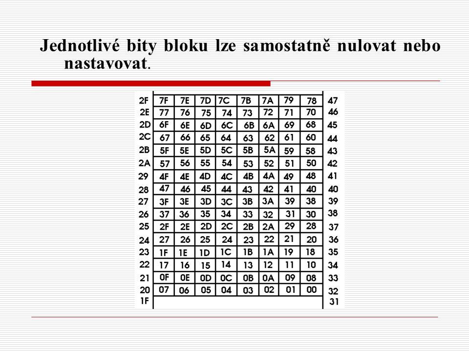 Jednotlivé bity bloku lze samostatně nulovat nebo nastavovat.
