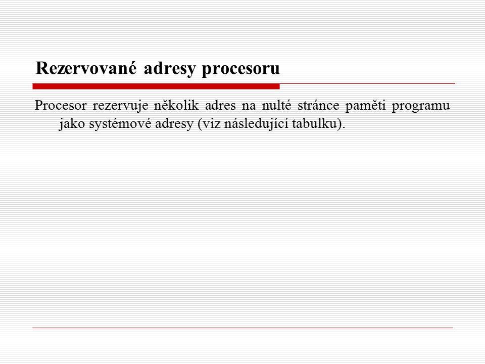 Rezervované adresy procesoru Procesor rezervuje několik adres na nulté stránce paměti programu jako systémové adresy (viz následující tabulku).