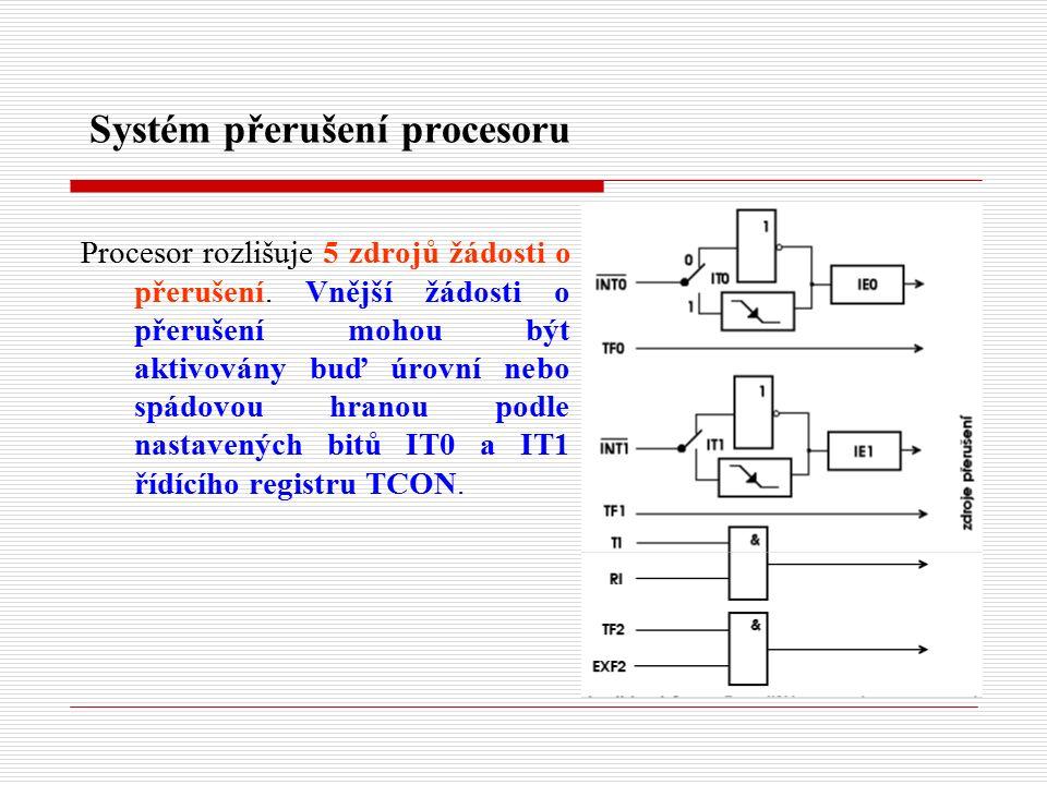 Systém přerušení procesoru Procesor rozlišuje 5 zdrojů žádosti o přerušení.