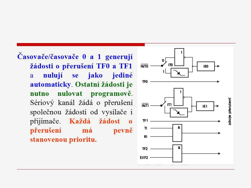 Časovače/časovače 0 a 1 generují žádosti o přerušení TF0 a TF1 a nulují se jako jediné automaticky.