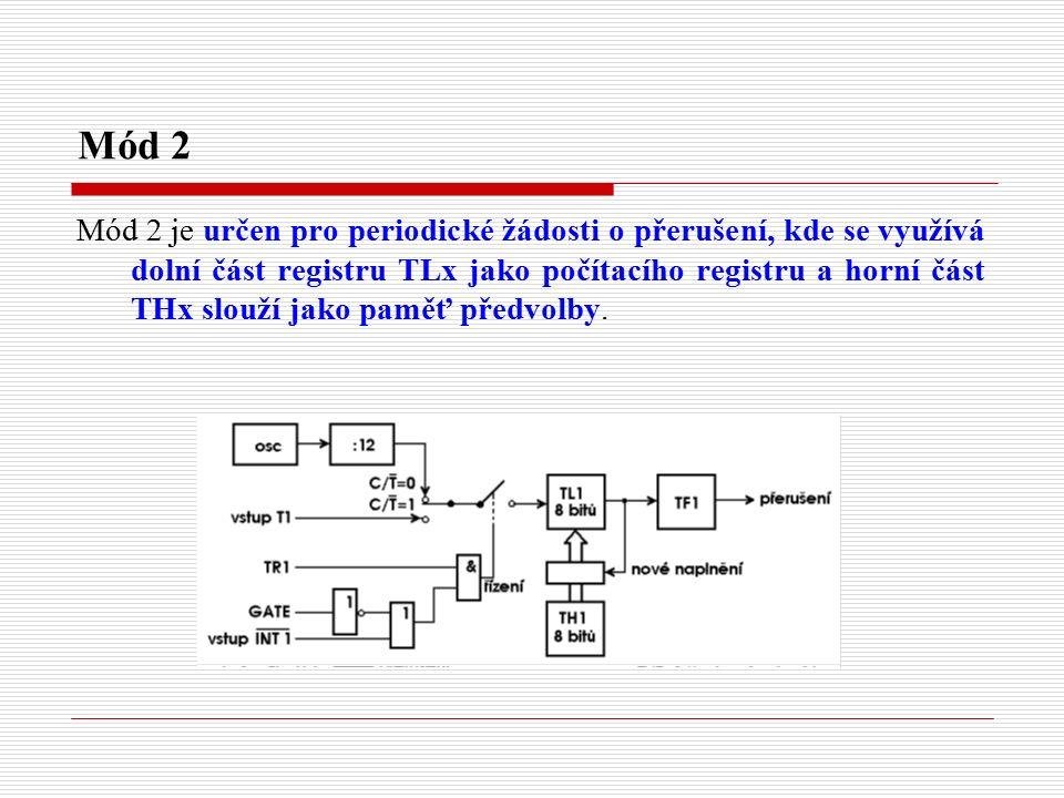 Mód 2 Mód 2 je určen pro periodické žádosti o přerušení, kde se využívá dolní část registru TLx jako počítacího registru a horní část THx slouží jako paměť předvolby.