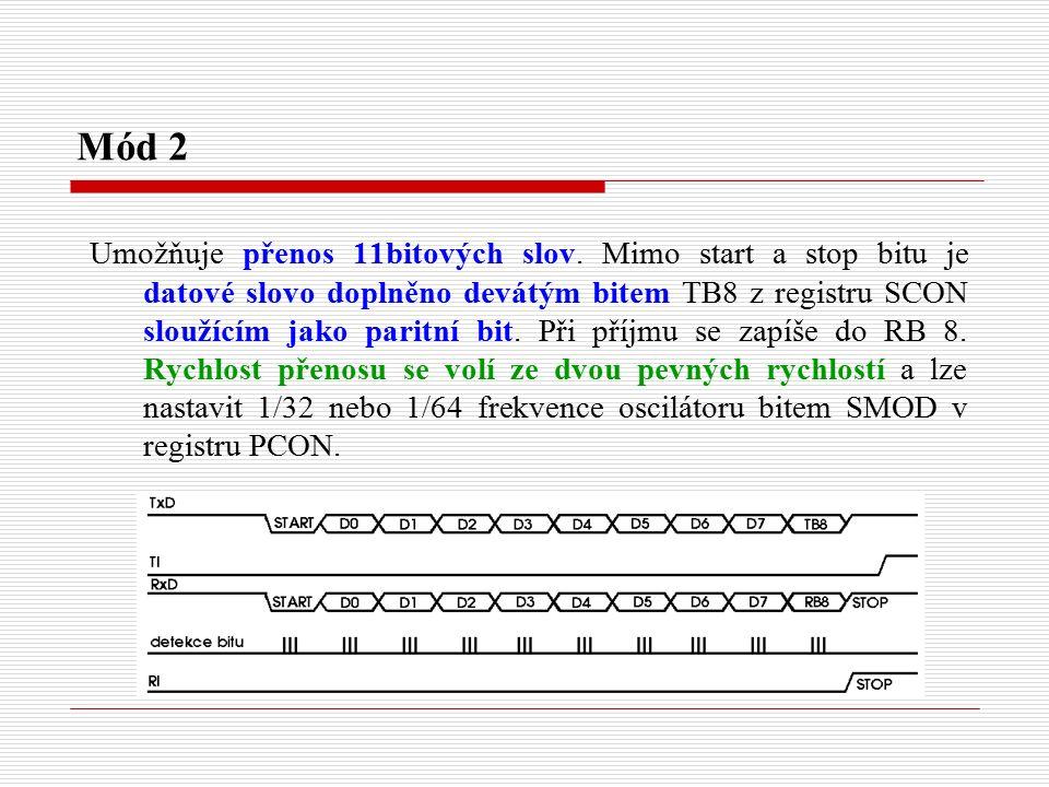 Mód 2 Umožňuje přenos 11bitových slov.
