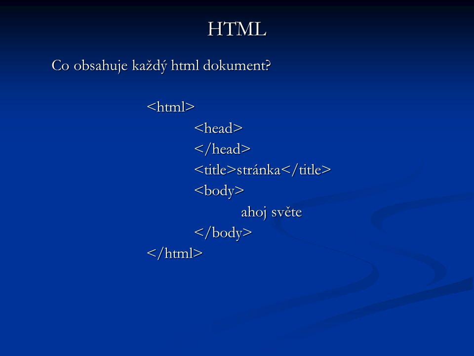 Co obsahuje každý html dokument.