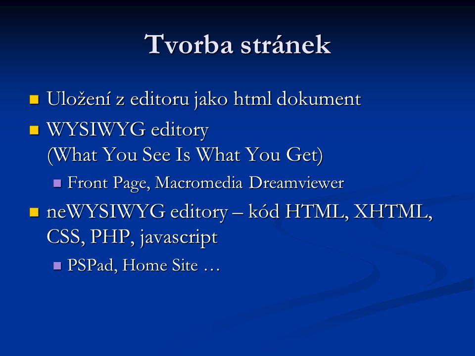 Tvorba stránek Uložení z editoru jako html dokument Uložení z editoru jako html dokument WYSIWYG editory (What You See Is What You Get) WYSIWYG editory (What You See Is What You Get) Front Page, Macromedia Dreamviewer Front Page, Macromedia Dreamviewer neWYSIWYG editory – kód HTML, XHTML, CSS, PHP, javascript neWYSIWYG editory – kód HTML, XHTML, CSS, PHP, javascript PSPad, Home Site … PSPad, Home Site …