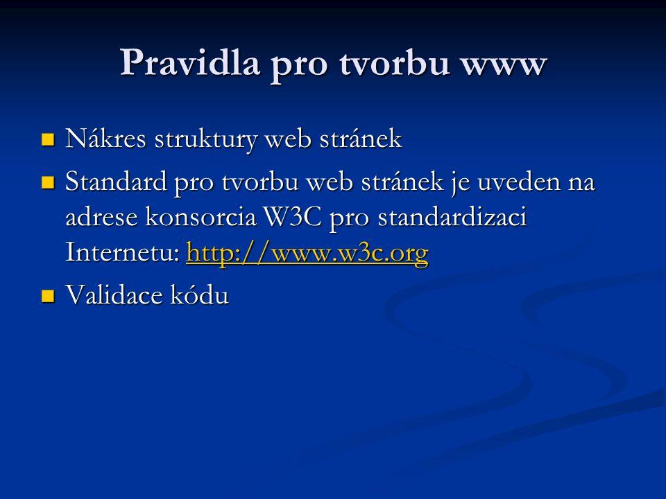 Pravidla pro tvorbu www Nákres struktury web stránek Nákres struktury web stránek Standard pro tvorbu web stránek je uveden na adrese konsorcia W3C pro standardizaci Internetu: http://www.w3c.org Standard pro tvorbu web stránek je uveden na adrese konsorcia W3C pro standardizaci Internetu: http://www.w3c.orghttp://www.w3c.org Validace kódu Validace kódu