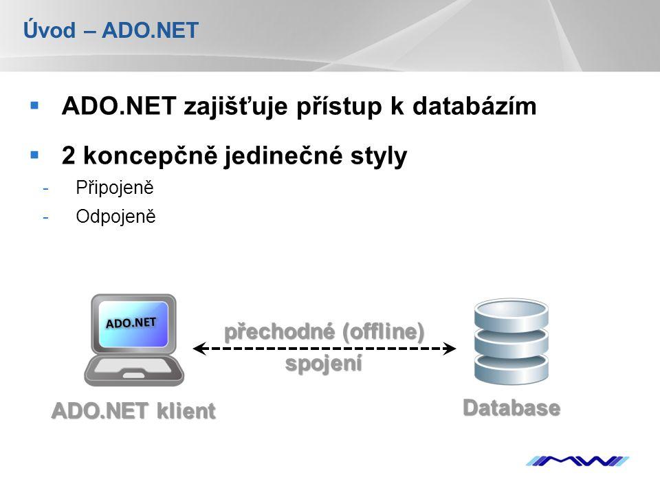 YOUR LOGO Úvod – ADO.NET  ADO.NET zajišťuje přístup k databázím  2 koncepčně jedinečné styly -Připojeně -Odpojeně přechodné (offline) spojení Database ADO.NET klient