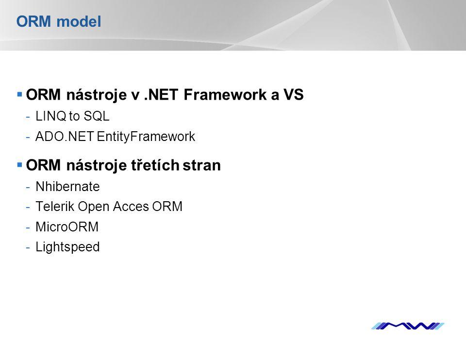 YOUR LOGO ORM model  ORM nástroje v.NET Framework a VS -LINQ to SQL -ADO.NET EntityFramework  ORM nástroje třetích stran -Nhibernate -Telerik Open Acces ORM -MicroORM -Lightspeed