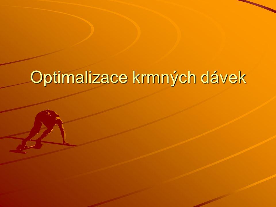 Optimalizace KD pro skot Sestavení KD vzhledem k požadavkům zvířat a možnostem podniku Princip výpočtu – lineární programování, simplexova metoda Výhody Možnost vymezení ukazatelů ekonomické efektivnosti zadáním: Možnost vymezení ukazatelů ekonomické efektivnosti zadáním: - limitu jadrných krmiv - limitu jadrných krmiv - ceny krmné dávky - ceny krmné dávky