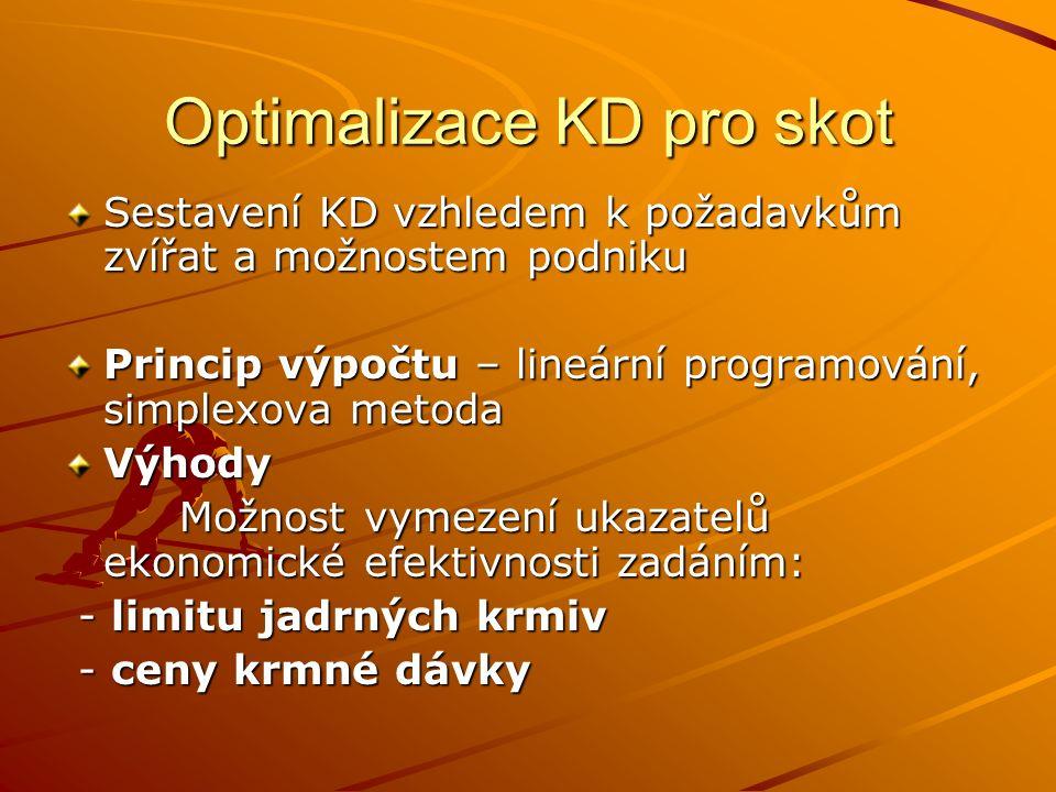 Optimalizace KD pro skot Sestavení KD vzhledem k požadavkům zvířat a možnostem podniku Princip výpočtu – lineární programování, simplexova metoda Výho