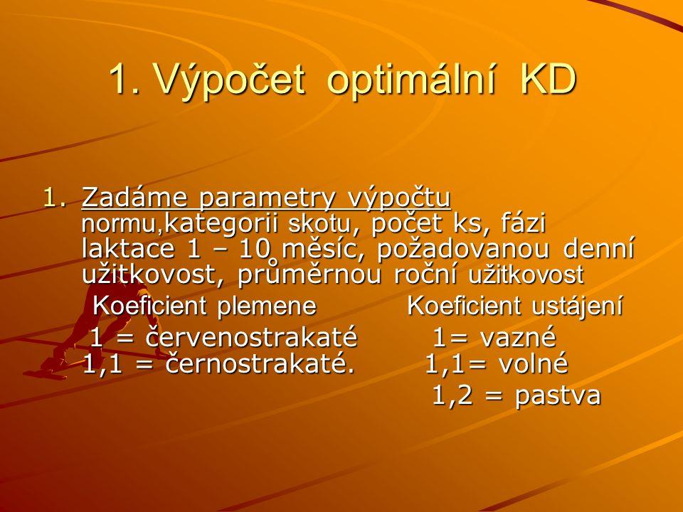 1. Výpočet optimální KD 1.Zadáme parametry výpočtu normu, kategorii skotu, počet ks, fázi laktace 1 – 10 měsíc, požadovanou denní užitkovost, průměrno