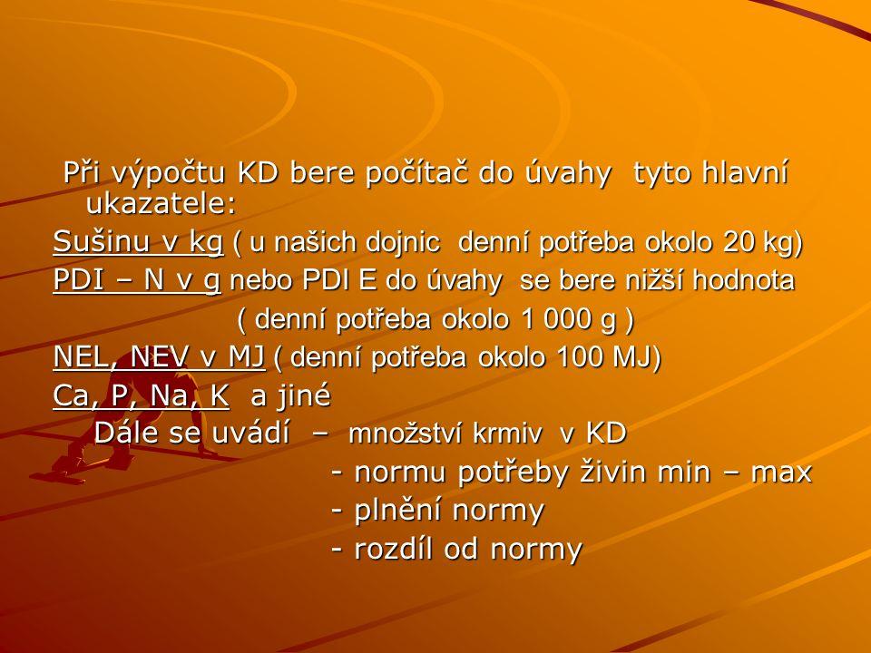 Při výpočtu KD bere počítač do úvahy tyto hlavní ukazatele: Při výpočtu KD bere počítač do úvahy tyto hlavní ukazatele: Sušinu v kg ( u našich dojnic