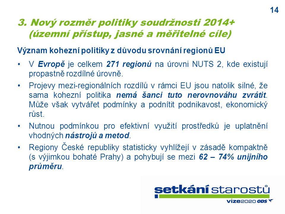14 Význam kohezní politiky z důvodu srovnání regionů EU V Evropě je celkem 271 regionů na úrovni NUTS 2, kde existují propastně rozdílné úrovně.
