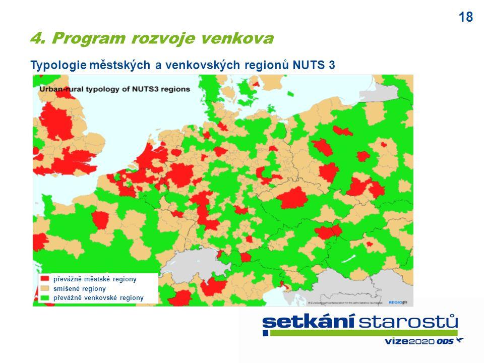 18 převážně městské regiony smíšené regiony převážně venkovské regiony Typologie městských a venkovských regionů NUTS 3 4.