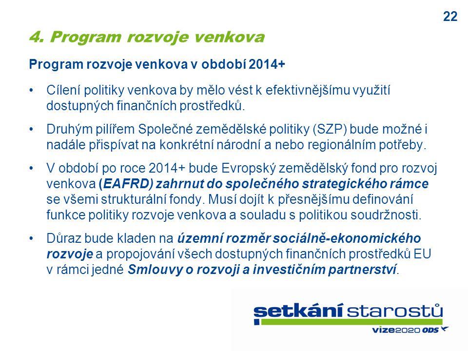 22 Cílení politiky venkova by mělo vést k efektivnějšímu využití dostupných finančních prostředků.