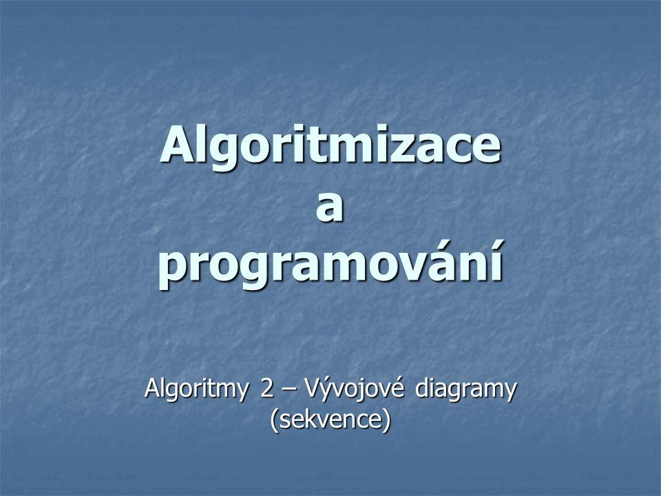 Algoritmizace a programování Algoritmy 2 – Vývojové diagramy (sekvence)