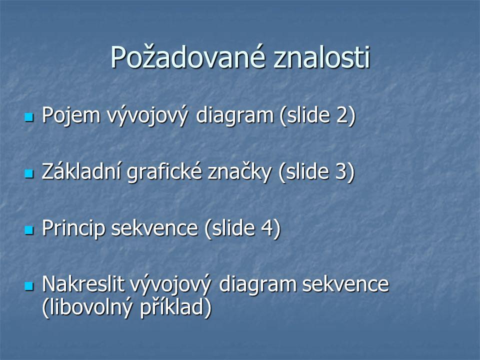Požadované znalosti Pojem vývojový diagram (slide 2) Pojem vývojový diagram (slide 2) Základní grafické značky (slide 3) Základní grafické značky (slide 3) Princip sekvence (slide 4) Princip sekvence (slide 4) Nakreslit vývojový diagram sekvence (libovolný příklad) Nakreslit vývojový diagram sekvence (libovolný příklad)