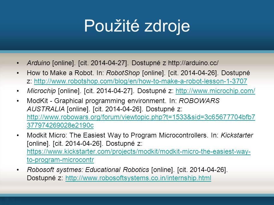Použité zdroje Arduino [online]. [cit. 2014-04-27].