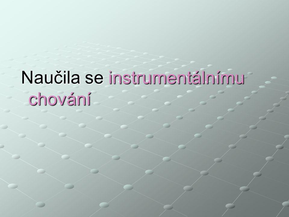 Naučila se instrumentálnímu chování Naučila se instrumentálnímu chování