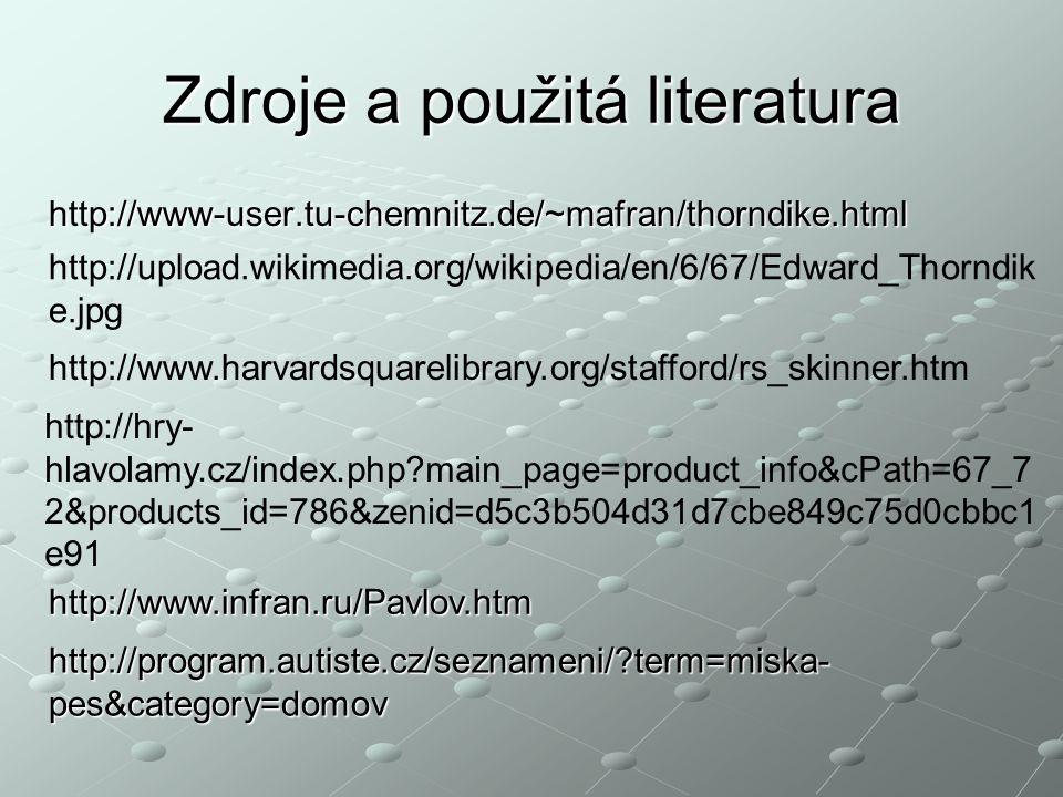 Zdroje a použitá literatura http://www-user.tu-chemnitz.de/~mafran/thorndike.html http://upload.wikimedia.org/wikipedia/en/6/67/Edward_Thorndik e.jpg http://www.harvardsquarelibrary.org/stafford/rs_skinner.htm http://hry- hlavolamy.cz/index.php?main_page=product_info&cPath=67_7 2&products_id=786&zenid=d5c3b504d31d7cbe849c75d0cbbc1 e91 http://www.infran.ru/Pavlov.htm http://program.autiste.cz/seznameni/?term=miska- pes&category=domov