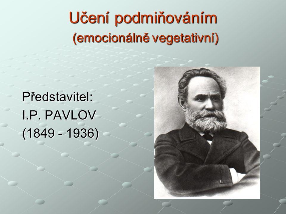 Učení podmiňováním (emocionálně vegetativní) Představitel: I.P. PAVLOV (1849 - 1936)