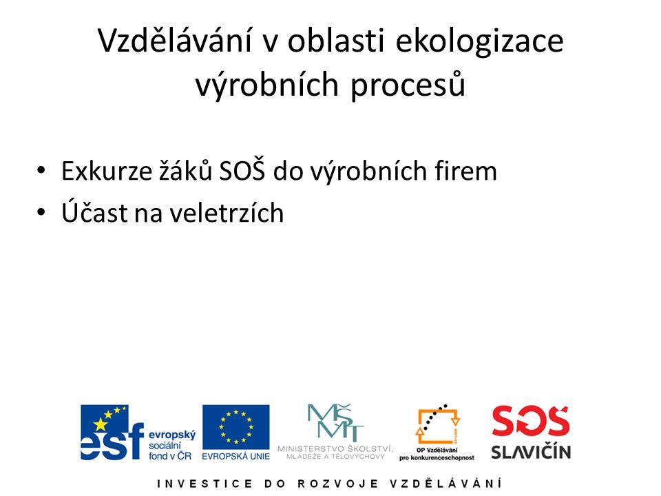 Vzdělávání v oblasti ekologizace výrobních procesů Exkurze žáků SOŠ do výrobních firem Účast na veletrzích