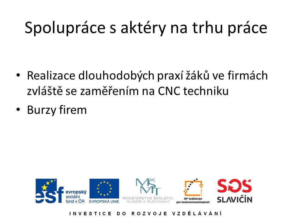 Spolupráce s aktéry na trhu práce Realizace dlouhodobých praxí žáků ve firmách zvláště se zaměřením na CNC techniku Burzy firem