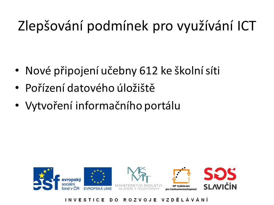 Zlepšování podmínek pro využívání ICT Nové připojení učebny 612 ke školní síti Pořízení datového úložiště Vytvoření informačního portálu