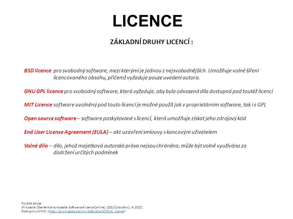 LICENCE ZÁKLADNÍ DRUHY LICENCÍ : Použité zdroje: Wikipedie: Otevřená encyklopedie: Softwarová licence [online]. c2013 [citováno 1. 6. 2013]. Dostupný
