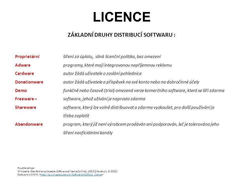LICENCE Proprietární šíření za úplatu, silná licenční politika, bez omezení Adware programy, které mají integrovanou nepříjemnou reklamu Cardware autor žádá uživatele o zaslání pohlednice Donationwareautor žádá uživatele o příspěvek na své konto nebo na dobročinné účely Demofunkčně nebo časově (trial) omezená verze komerčního software, která se šíří zdarma Freeware – software, jehož užívání je naprosto zdarma Sharewaresoftware, který lze volně distribuovat a zdarma vyzkoušet, pro další používání je třeba zaplatit Abandonwareprogram, který již není výrobcem prodáván ani podporován, leč je tolerováno jeho šíření neoficiálními kanály Použité zdroje: Wikipedie: Otevřená encyklopedie: Softwarová licence [online].
