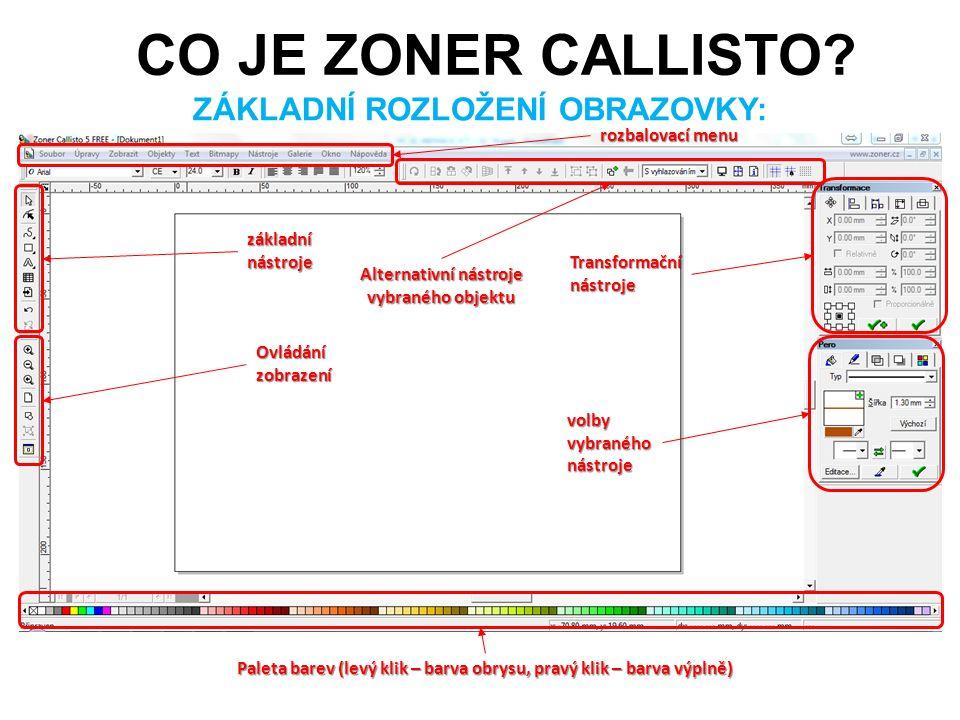 základní nástroje volby vybraného nástroje Paleta barev (levý klik – barva obrysu, pravý klik – barva výplně) rozbalovací menu ZÁKLADNÍ ROZLOŽENÍ OBRA